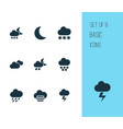 weather icons set with storm night misty and vector image
