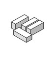 white bricks isometric composition vector image vector image