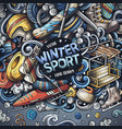 winter sports hand drawn doodles vector image vector image