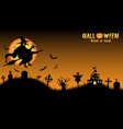 witch with halloween background vector image vector image