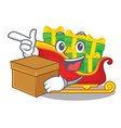 with box santa claus sleigh in shape cartoon vector image
