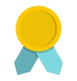 Yellow badge with blue ribbons icon flat style vector image vector image