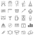 New Year line icons on white background vector image