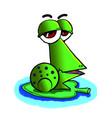 funny green frog on a leaf vector image