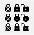 icons locks security control vector image