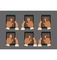 Multitouch gesture hands with tablet mockups vector image