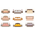 set of warm colors nine bed with bedside tables vector image
