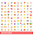 100 joy icons set cartoon style vector image vector image