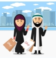Arab couple shopping vector image