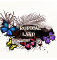 banner on a tropical theme with palm leafs vector image vector image