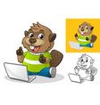 beaver with laptop computer vector image vector image