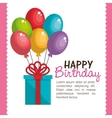 birthday card gift and balloons colors graphic vector image