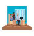 business couple in office scene vector image vector image