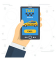 businessman hand call taxi service by smart phone vector image