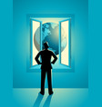 businessman looking through window vector image vector image