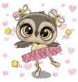 cartoon owl ballerina on a hearts background vector image