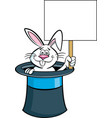 cartoon rabbit in a top hat and holding a sign vector image vector image
