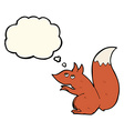 Cartoon red squirrel with thought bubble vector image