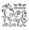cat makes marriage proposal valentine vector image