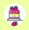 cheesecake whipped cream jelly strawberry kawaii vector image vector image