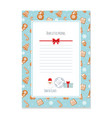 christmas letter from santa claus template layout vector image vector image