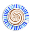 coffee cup top view striped saucer background vector image