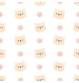 cute bear and peach seamless pattern background vector image vector image