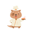 cute dog in chef uniform holding delicious dish vector image vector image