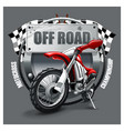 extreme red off road motorbike t-shirt logo vector image vector image