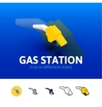 Gas station icon in different style vector image vector image