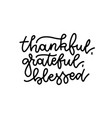 grateful thankful blessed - simple lettering vector image vector image
