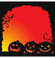 Halloween background - three pumpkins vector image vector image