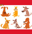happy dogs or puppies cartoon characters set vector image vector image