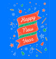 happy new year ribbon banner in bright colorful vector image vector image