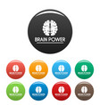 human brain power icons set color vector image vector image