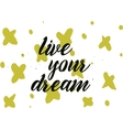 live your dream inscription Greeting card with vector image vector image