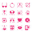 love line icons set happy valentine s day pink vector image