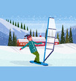 man windboarding windsurfing on snow over small vector image vector image