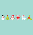 merry christmas icon set snowman candy cane stick vector image vector image