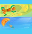 modern skydivers banner set cartoon style vector image vector image