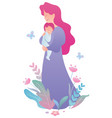 mother and baon white vector image vector image