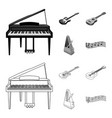 musical instrument outlinemonochrome icons in set vector image vector image