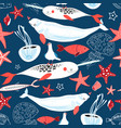 pattern sea whales and fish vector image vector image