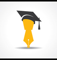 pen with graduation cap icon educational symbol vector image