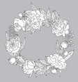 peony wreath black and white vector image vector image