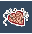 Pin cushion in a heart shape vector image vector image