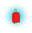 Red travel suitcase icon comics style vector image vector image