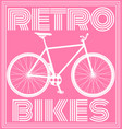 retro poster with bicycle in pink tone vector image vector image