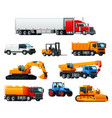 road transport heavy machinery and vehicle icon vector image