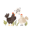 rooster singing songs for hen cute and funny vector image vector image